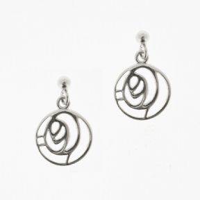 Mackintosh Glasgow Rose Round Silver Studs 1909